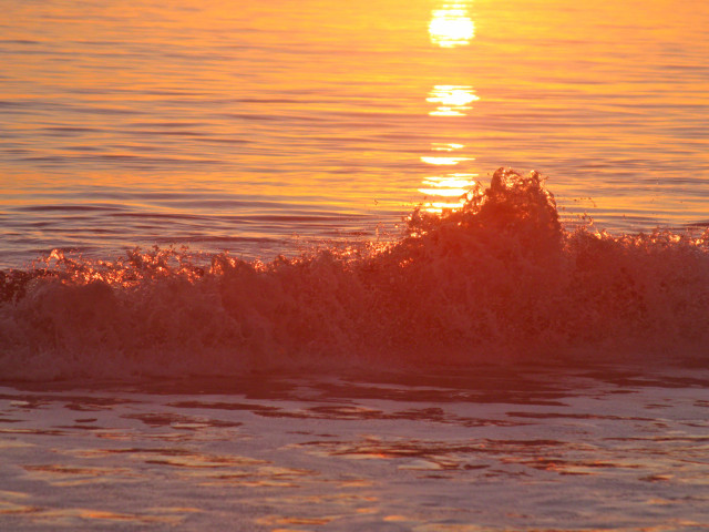 Waves Backlit by the Sunset