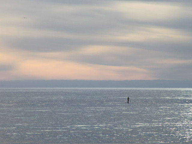 Stand-up paddleboard, evening, Seacliff Beach