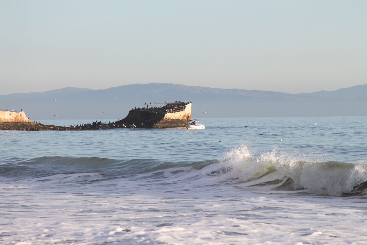 cement ship and fishing boat