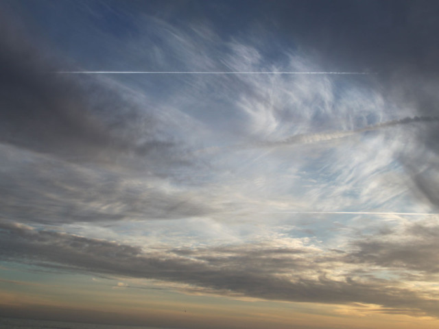 Contrail, winter sky